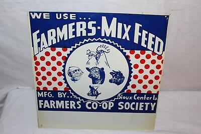 Vintage 1940's Farmers-Mix Feed Pig Cow Chicken Sheep Farm Metal Sign~Nice