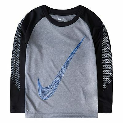 NWT NIKE Boy's Logo Graphic LS T Shirt 5 6 GRAY BLUE RETAIL-$28!