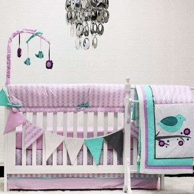 Purple Pink Birds 10 pcs Crib Bedding Set Baby Girl Nursery Quilt Mobile Tote