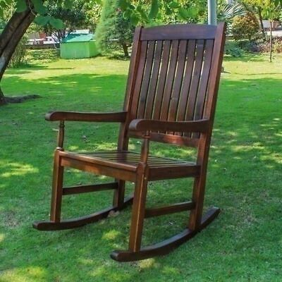 NEW Rocking Chair Rocker Acacia Wood Antique Style High Back Seat Porch Nursery
