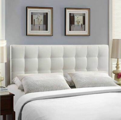Twin Full Queen King White Upholstered Headboard Wall Frame Mount Tufted Fabric