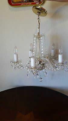 Working Vintage Faceted Crystal Glass Chandelier 5 Crystal Glass Arms