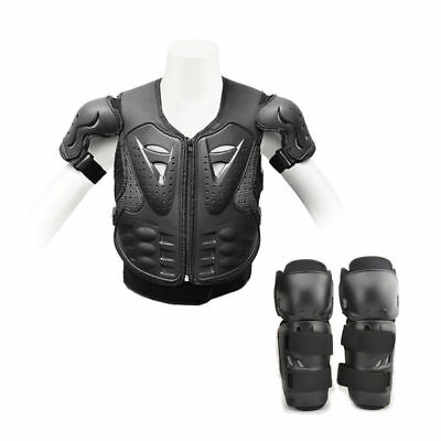 Dirt Bike Protector Guard Jacket Motorbike Spine Body Armour Knee Pad Shin Kids