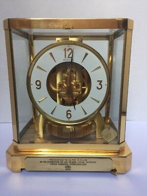 Jaeger- LeCoultre Atmos Clock 25 Years Of Service Union Carbide 1973 Model 528-8