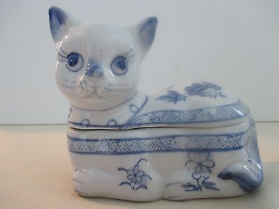 Porcelain Kitty Trinket Box