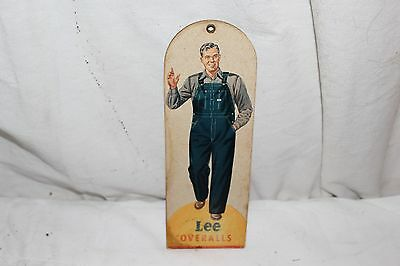 Vintage 1940's Lee Overalls Blue Jeans Pants Gas Oil 2 Sided Fan Light Pull Sign