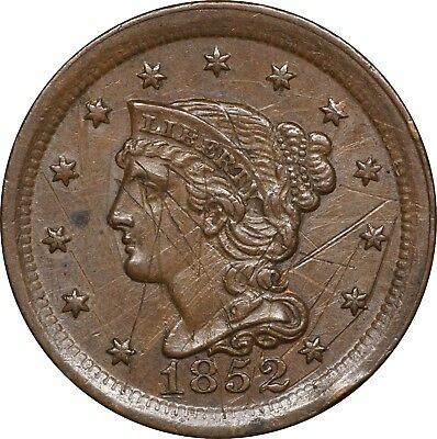 1852 Large Cent, About Uncirculated AU Details, Heavily Scratched