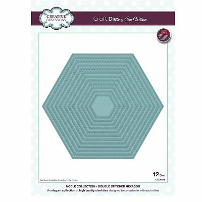 Creative Expressions Double Stitched Hexagon Noble Collection Craft Die Set CED5
