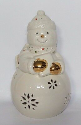 Lenox China Jewels Christmas Snowman Votive w Original Box