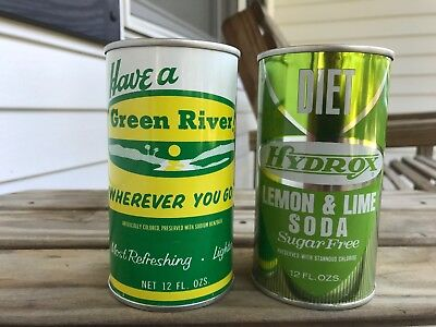 2 Vintage Soda Cans Coke Green River HYdrox Diet Lemon Lime SUPER CLEAN! AWESOME
