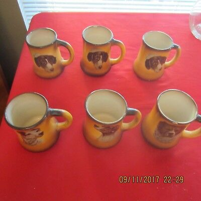Antique Taylor Smith Taylor Canine Pitcher & 6 Tankards, Mugs Dogs