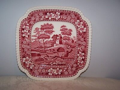 Beautiful Rare Copeland Spode Pink Tower 8 1/4'' Square Salad / Luncheon Plate