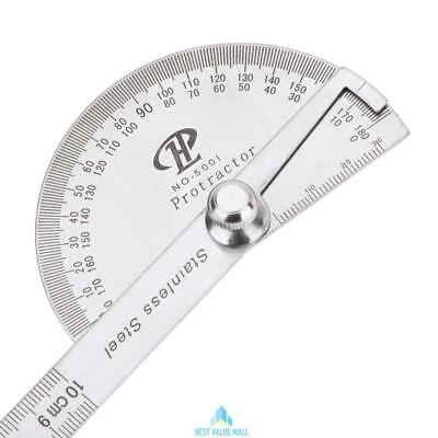180 Degree Protractor Finder Ruler Rotary Stainless Steel Measuring Angle Gauge