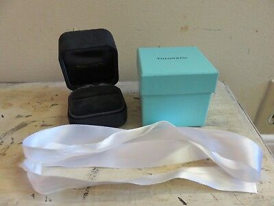 """Authentic Tiffany & Co. Empty Gift Box Jewelry Ring Black Suede Felt 2 3/4"""""""