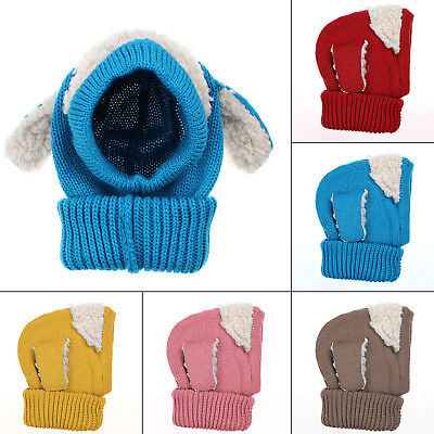 Cute Dog Shape Head Ear Warm Hat Baby Kids Infants Kintted Woolen Cap Cover Gift