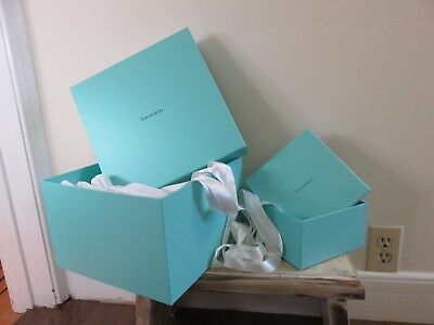 Lot of 3 Authentic Tiffany & Co. Empty Gift Boxes Ribbons + Tissue Paper