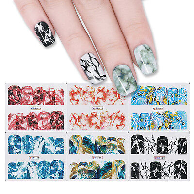 Nail Art Water Decals Transfer Stickers Marble Grain Design Manicure 12 Patterns