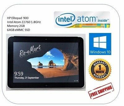 HP Elitepad 900 Tablet,Intel Atom Z2760 1.8GHz,Mem 2GB,64GB eMMC SSD,Win 10 Pro
