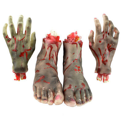 1 Pair Bloody Horror Scary Halloween Prop Fake Severed Lifesize Hand Foot Decor