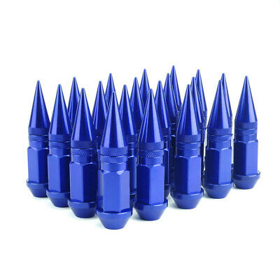 20pc Spike Lug Nuts M12X1.5 Spline Tuner Wheel Bolts Cap Extended Close End Blue