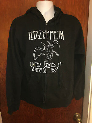 led zeppelin united states of america 1977 zip up hoodie mens large