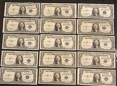 15- 1935  $1 Dollar Bills SILVER CERTIFICATES CIRCULATED OLD US CURRENCY LOT