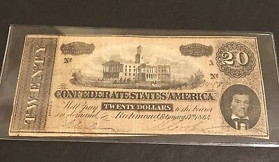 ANTIQUE Confederate $20 Currency Note 1864 CSA Hand Signed US Civil War Money