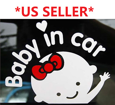 *US SELLER* Baby Girl on Board in Car Safety Sticker Reflective Decal Sign Heart