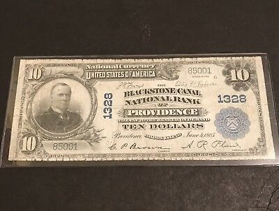 1902 $10 The Blackstone Canal Nb Providence Ri National Currency #1328 *cleaned*