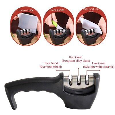 3 Stage Tungsten, Diamond, Ceramic Sharpening slot, Manual Knife Sharpener