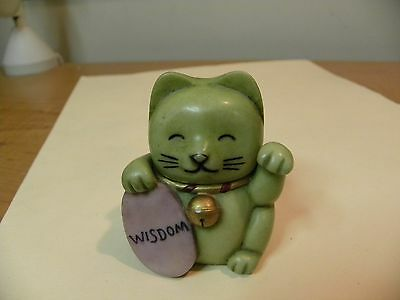 Wisdom Green Cat 2003 Pot Bellys Trinket Box Very Cute Excellent Condition 2.5""