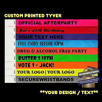 100 x Tyvek, Party, Event, ID CUSTOM  Wristbands *Your Text Here* 12 COLOURS