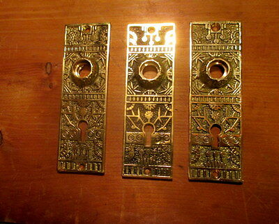 Three Ornate Victorian Cast Brass Interior Door Plates Reproduction Hardware