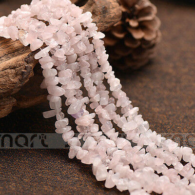 Natural Pink Crystal Quartz Gemstone Freefrom Beads 15'' Inches Strand 5x8MM