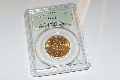 1902-S Gold $10  MS63 1902 San Francisco MInt RARE FIND in old pcgs case.