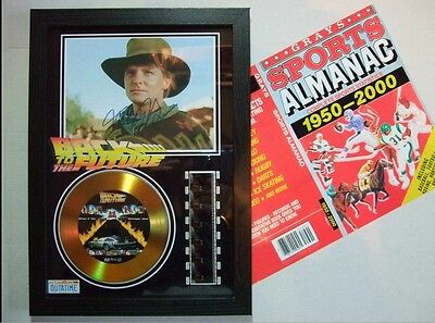 Back To The Future Signed Gold Disk Special Film Cell Framed & Marty's Almanac