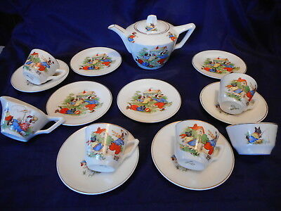 Delightful Animated Dogs CHILDs TEA SET England Art Deco Tea Pot Cups Plates etc