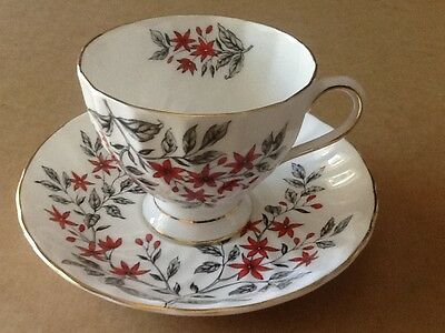 VTG-Tuscan Fine English Bone China Black/Red Floral Handpainted Tea Cup & Saucer