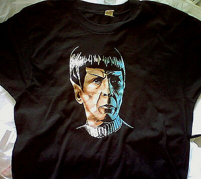 Vintage 80s Mr. Spock T-Shirt Black M l Star Trek Leonard Nimoy