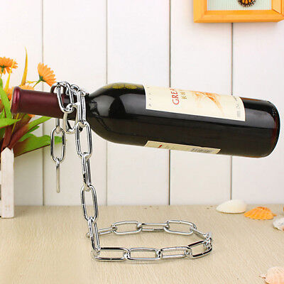 Magic BOX Bottle Chain Holder GIFT Rack Stand Wine Decanter Rope Silver