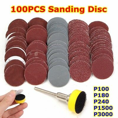 "100Pcs Mixed SandPaper & Abrasives 1"" Hook  Backer Plate 1/8inch Shank Set"