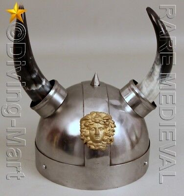 Viking Armor Helmet With Lion Crest Authentic Metal Replica With Horns MT467