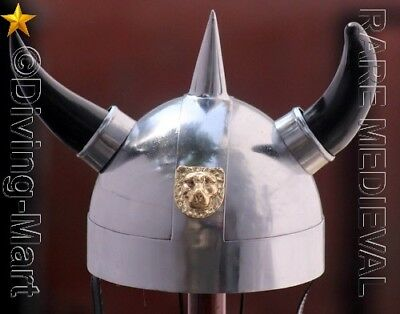 Viking Armor Helmet With Lion Crest Authentic Metal Replica With Horns MT471
