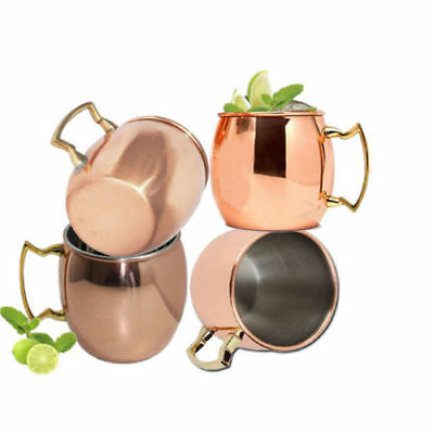 4 Moscow Mule Copper + Stainless Steel Mugs/Cups 16-ounce Coffee Mug Tea Cup New