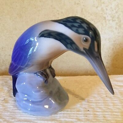 ADORABLE VINTAGE FIGURINE ROYAL COPENHAGEN B&G BING & GRONDAHL Large Kingfisher