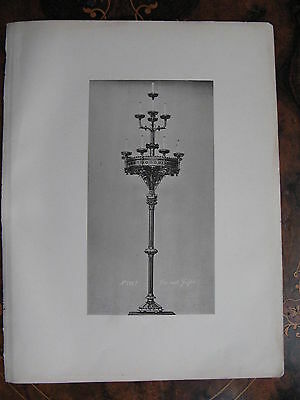 Candle Floor Lamp Standard Lamp  c1870 Photogravure