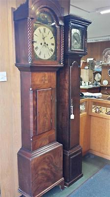 Antique Walnut Veneer 8 Day Grandfather Longcase Clock