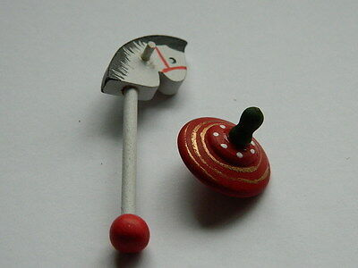 (M3.4) Dolls House Wooden Hobby Horse & Spinning Top