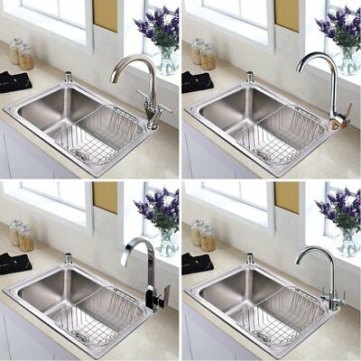 1.0 Bowl Stainless Steel Kitchen Sink And Taps + Drainer Plumbing Kit Waste