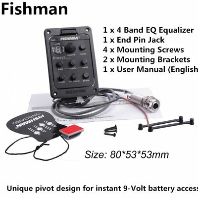 Fishman 4-Band EQ Equalizer Acoustic Guitar Pickup Guitar Tuner Black Color A9